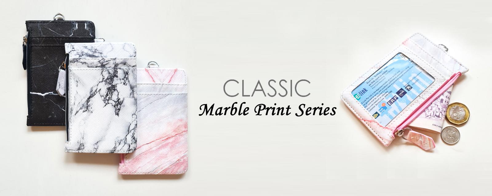 New Marble Print Zip cardholder