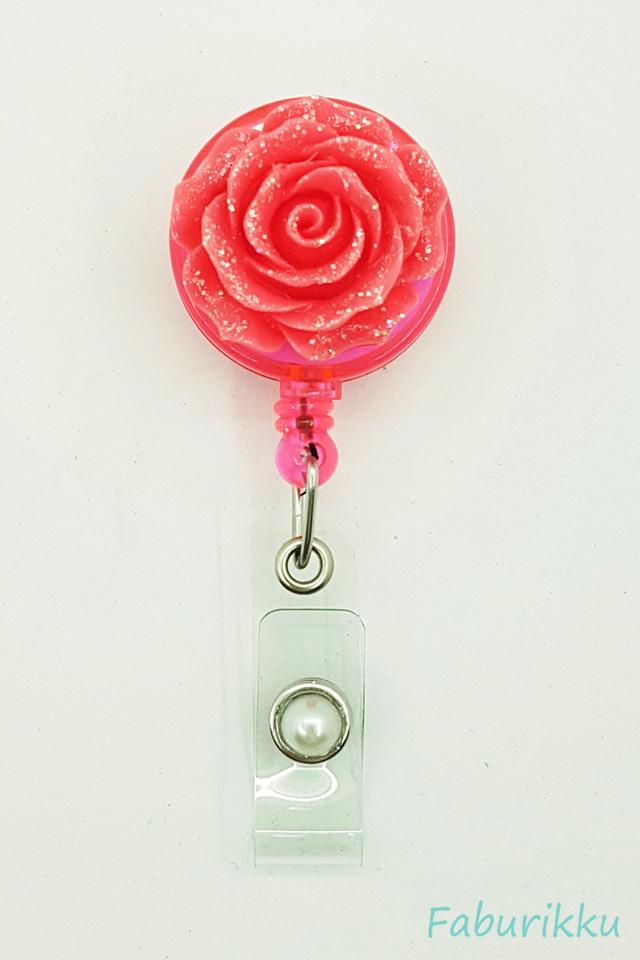 3D Rose Magenta Clip-On Badge Reel
