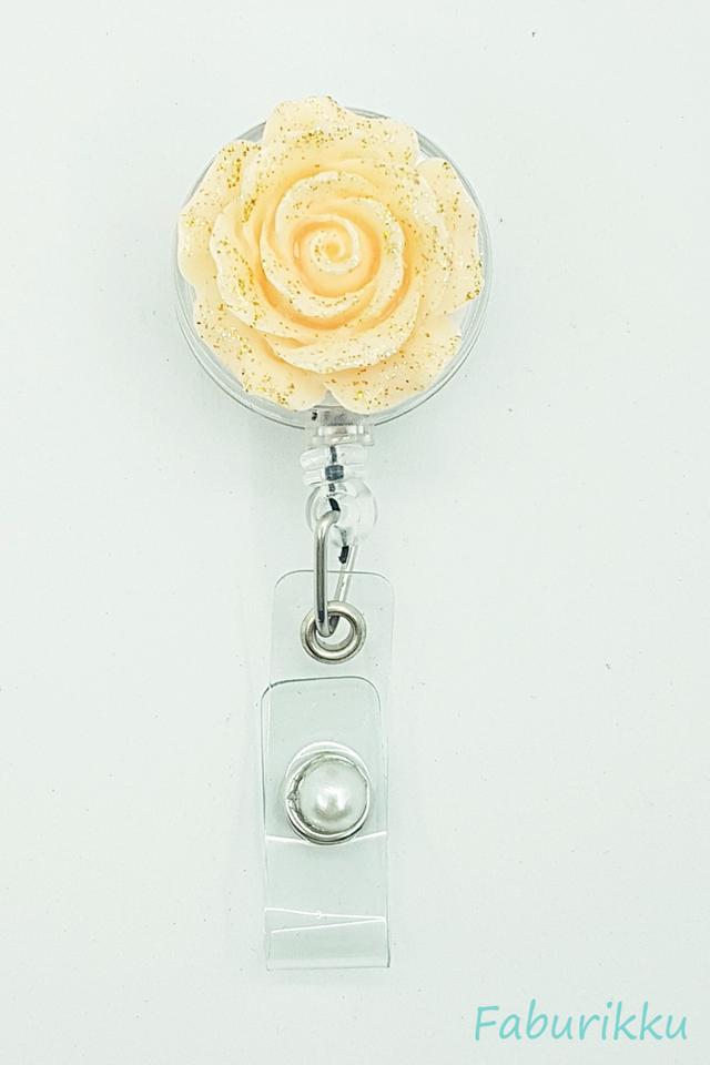 3D Rose Peach Clip-On Badge Reel