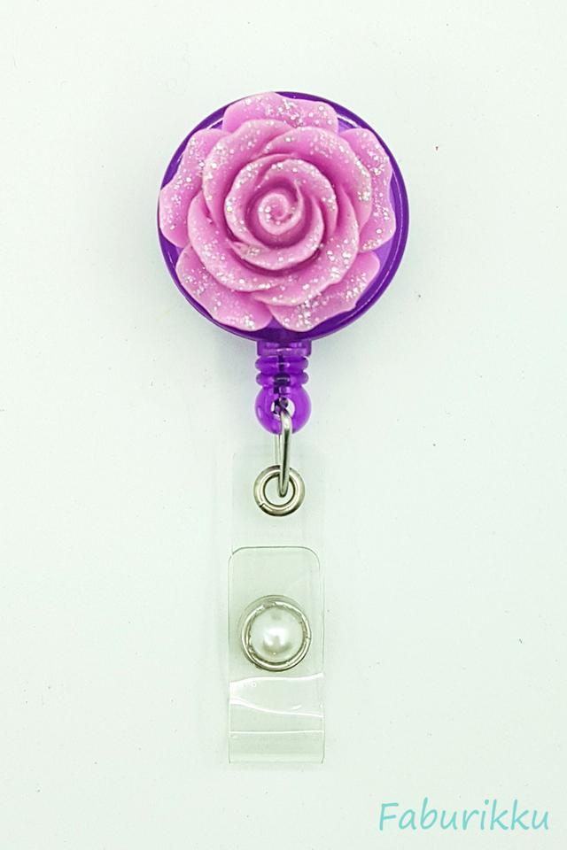 3D Rose Purple Clip-On Badge Reel