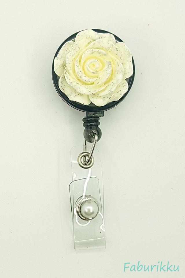 3D Rose White Clip-On Badge Reel