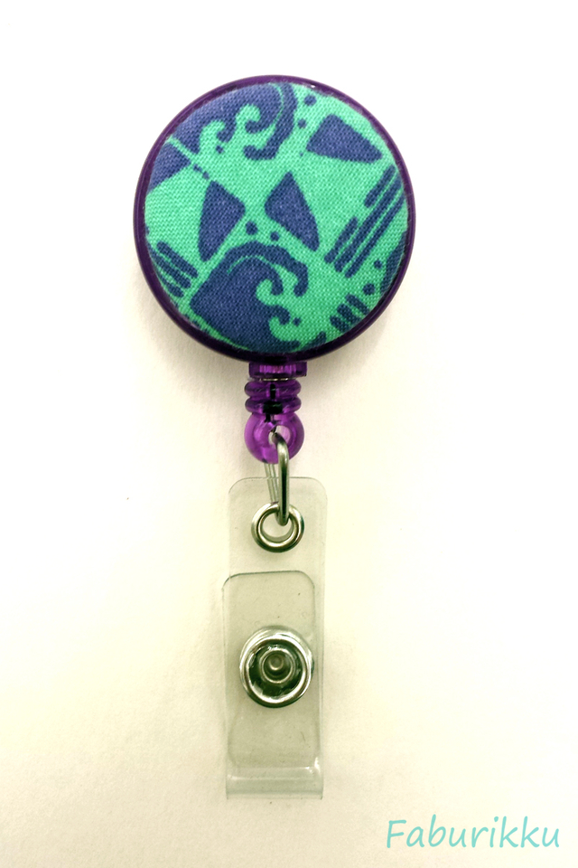 Abstract Print Purple Clip-On Badge Reel
