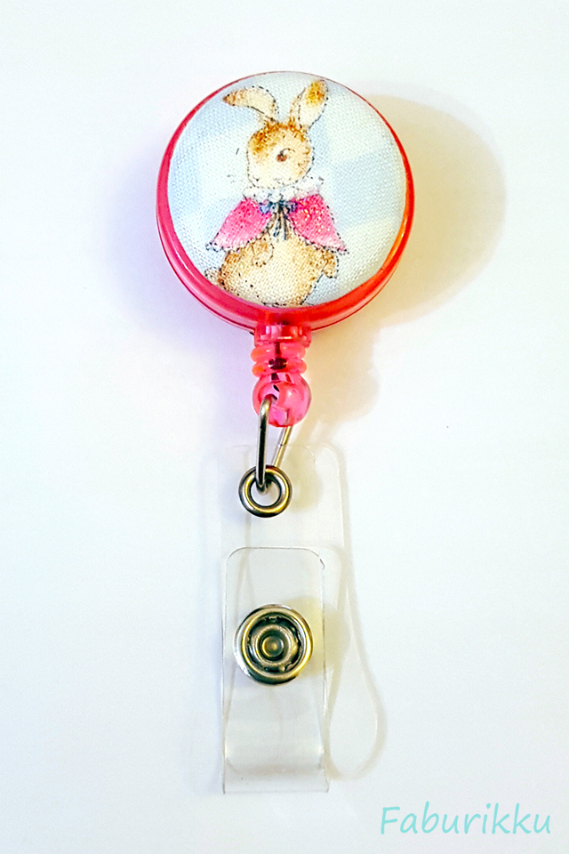 Animal Country Rabbit Pink Clip-On Badge Reel