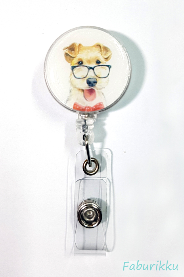 Animal Dog Specs Clip-On Badge Reel