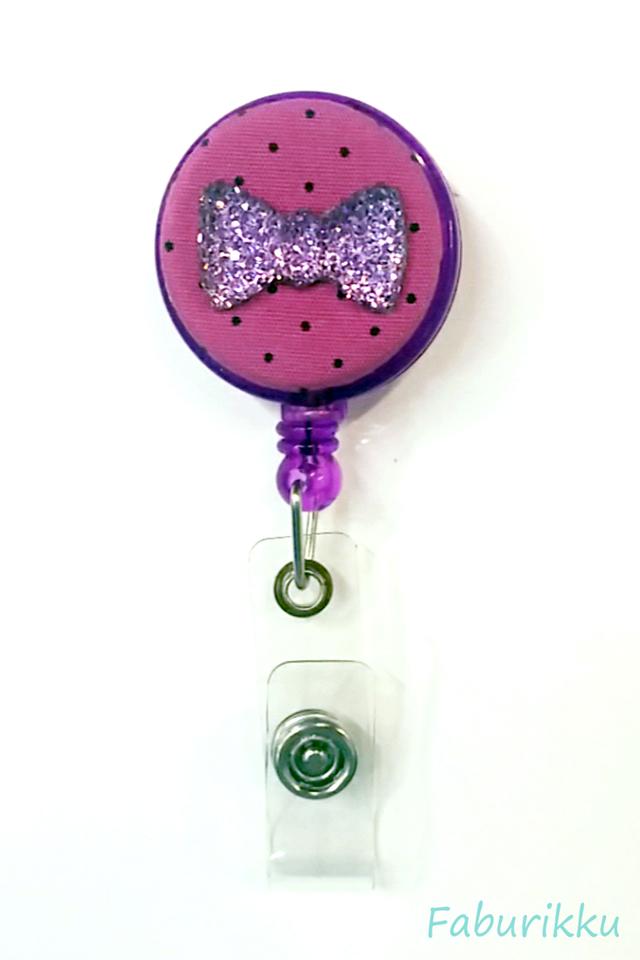 Bling Ribbon Purple Clip-On Badge Reel