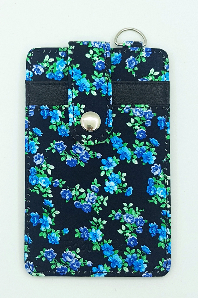 Blue Floral Button Premium Cardholder Portrait
