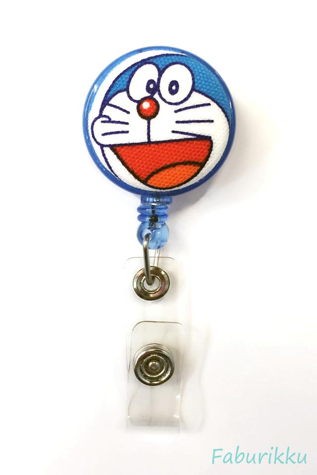 Doraemon Blue Openmouth Clip-On Badge Reel