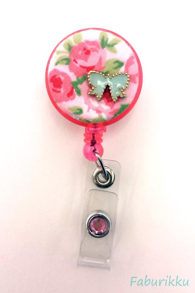 Floral Ribbon Pink Clip-On Badge Reel