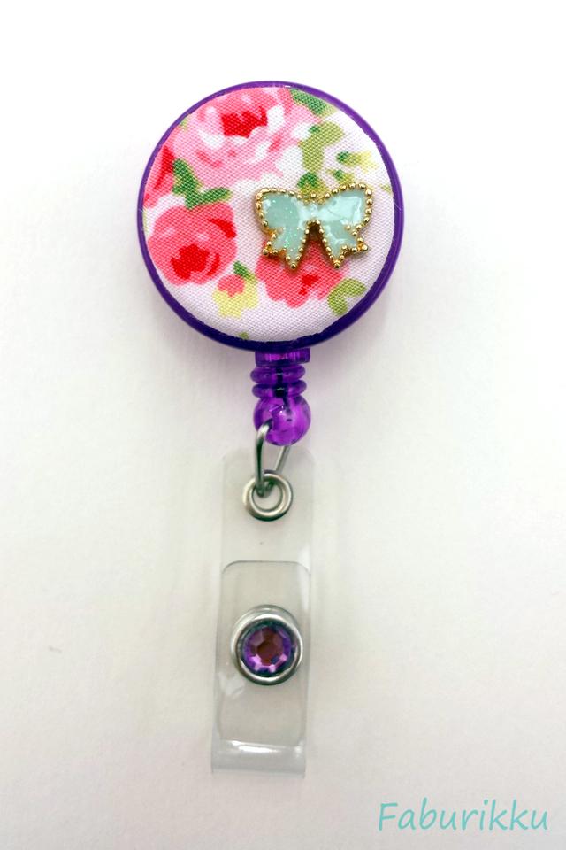 Floral Ribbon Purple Clip-On Badge Reel