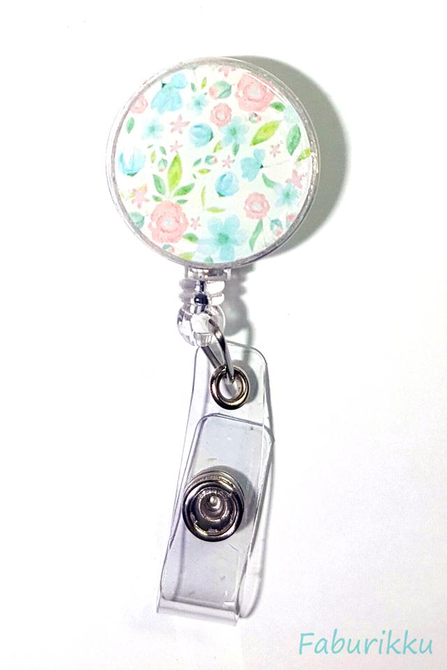 Flower Print Pastel Clip-On Badge Reel