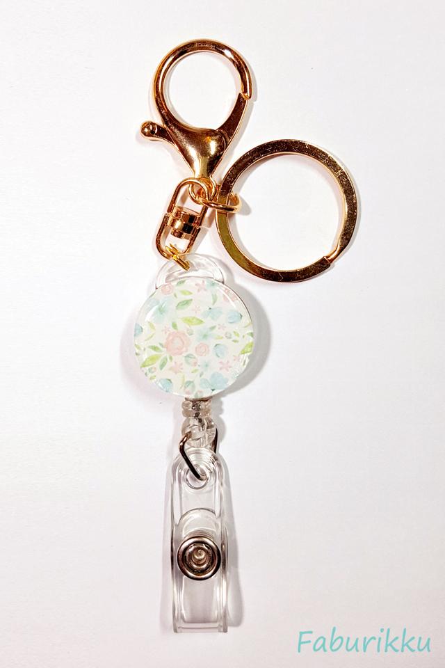 Flower Print Pastel Hook On Badge Reel