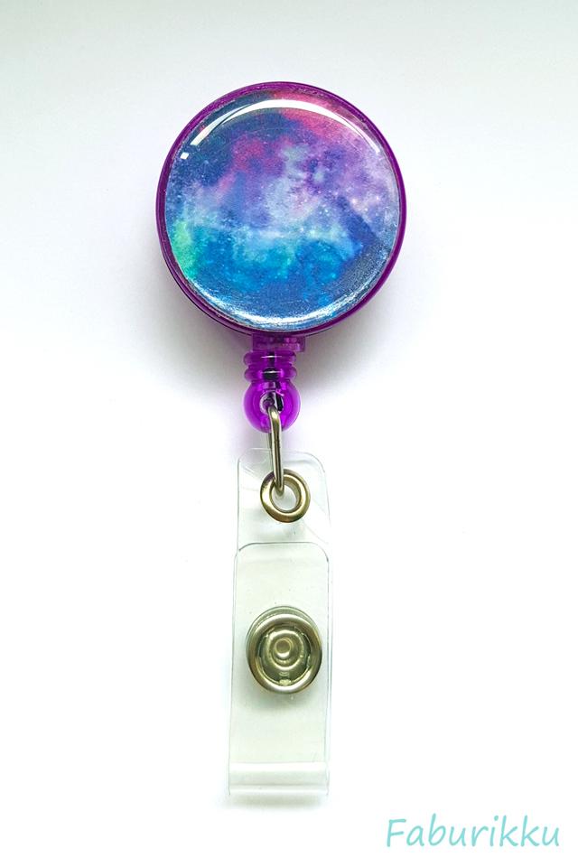 Galaxy Print Purple Clip-On Badge Reel