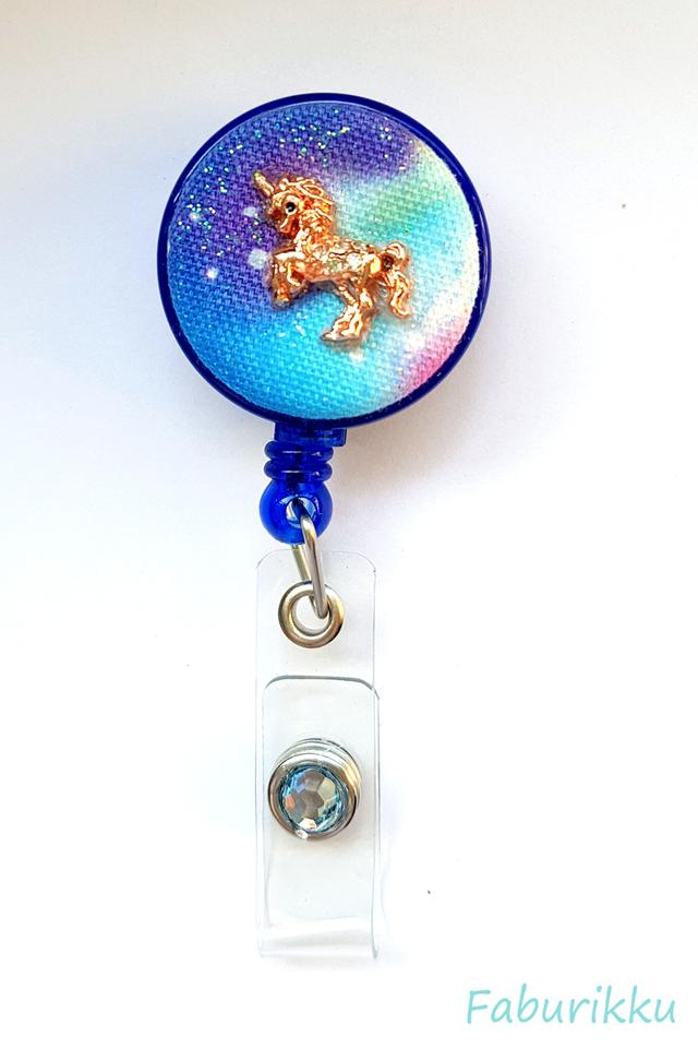 Galaxy Unicorn Cobalt Clip-On Badge Reel