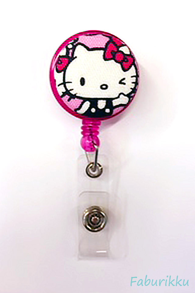 Hello Kitty Magenta Wink Clip-On Badge Reel