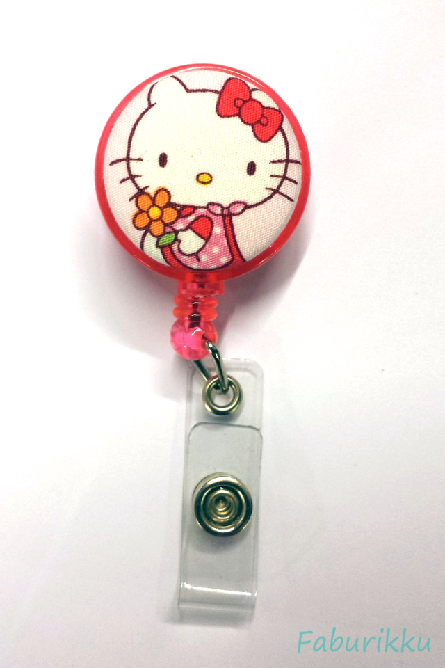 Hello Kitty Pink Flower Clip-On Badge Reel