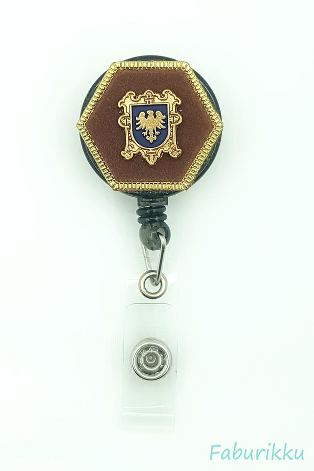 Icon Hexagon Brown Clip-On Badge Reel
