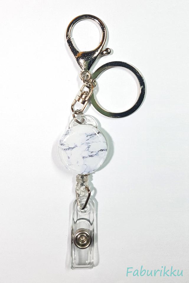 Marble Print BlackWhite Hook On Badge Reel