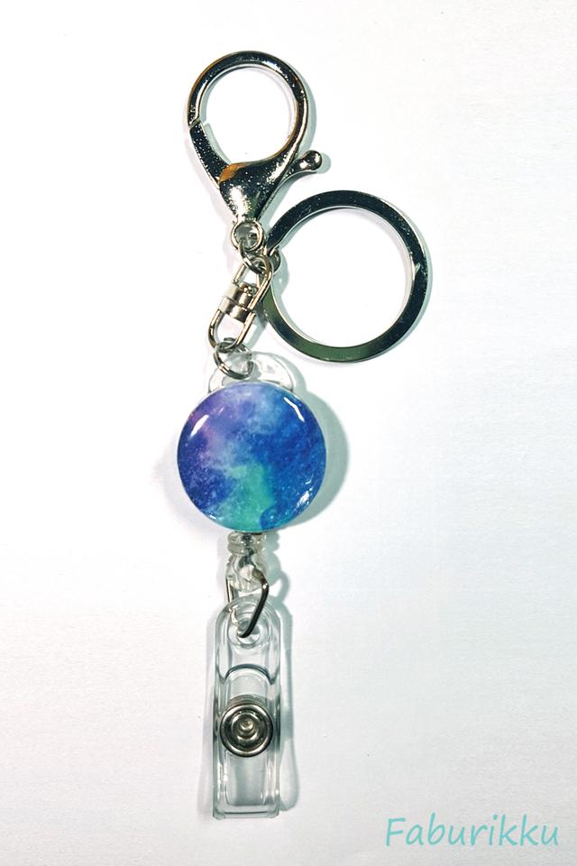 Marble Print Blue Hook On Badge Reel