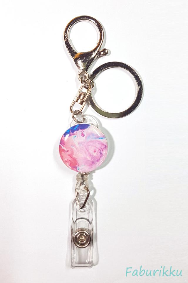 Marble Print Fushia Hook On Badge Reel
