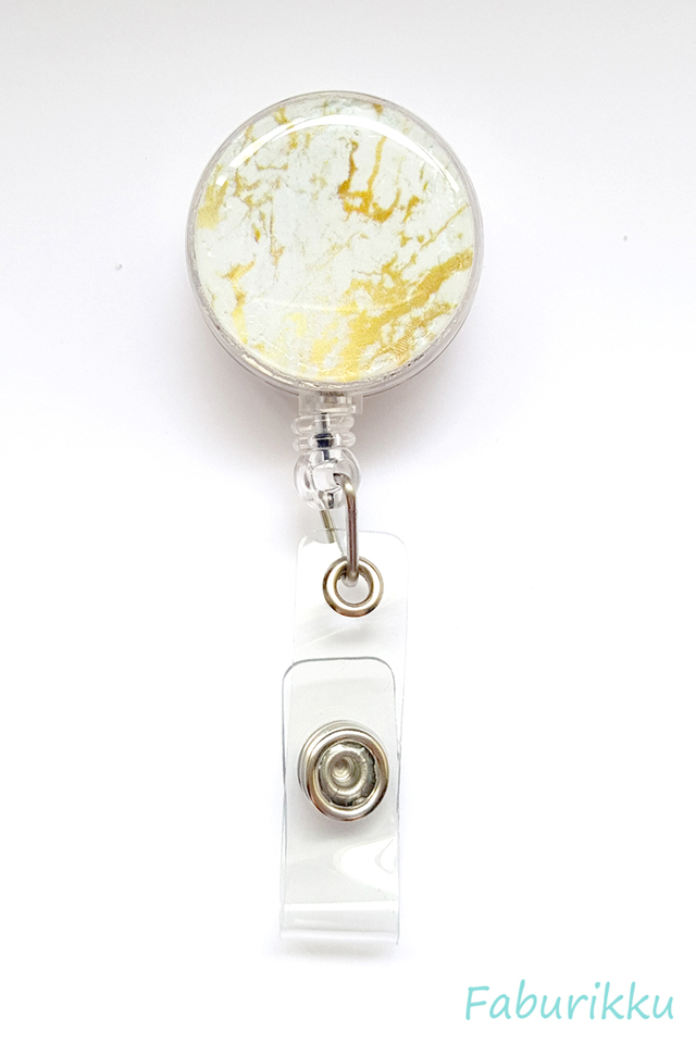 Marble Print Gold Clip-On Badge Reel