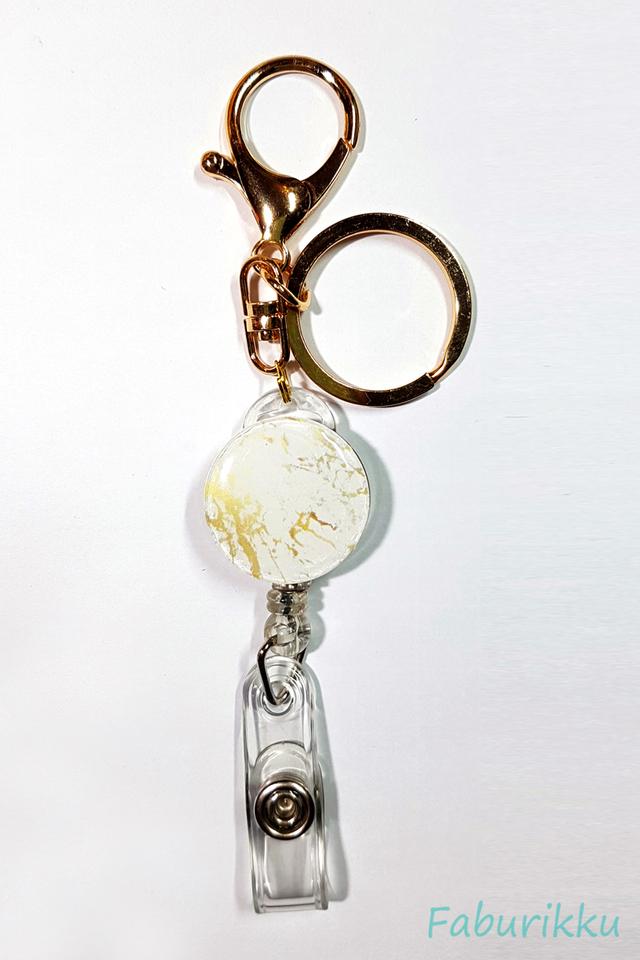 Marble Print Gold Hook On Badge Reel