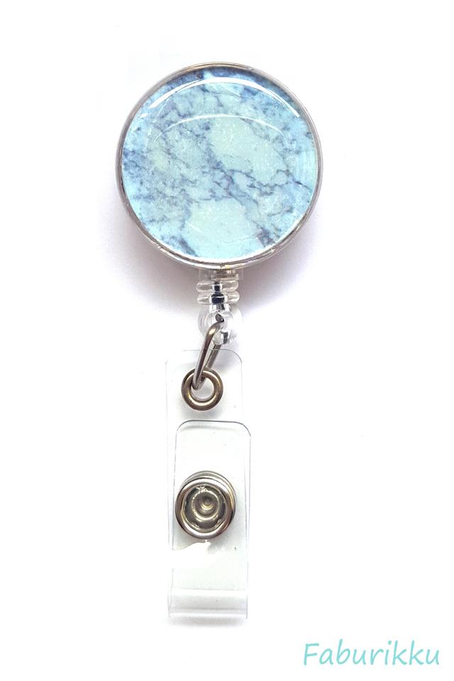 Marble Print Grey Clip-On Badge Reel