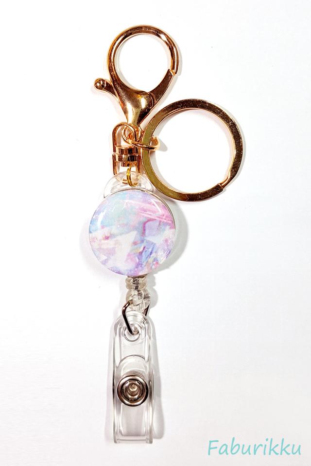 Marble Print Hologram Hook On Badge Reel