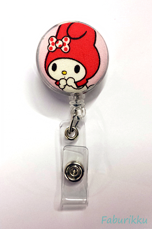 My Melody Clear Redhead Clip-On Badge Reel