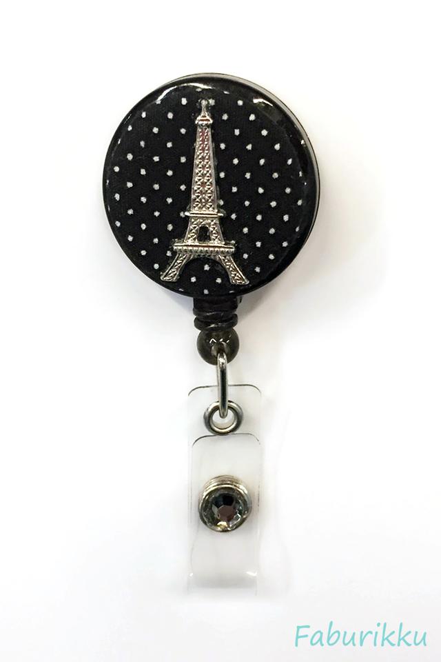 Polkadot Eiffel BlackSilver Clip-On Badge Reel