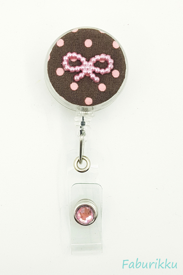 Polkadot Ribbon BrownPink Clip-On Badge Reel