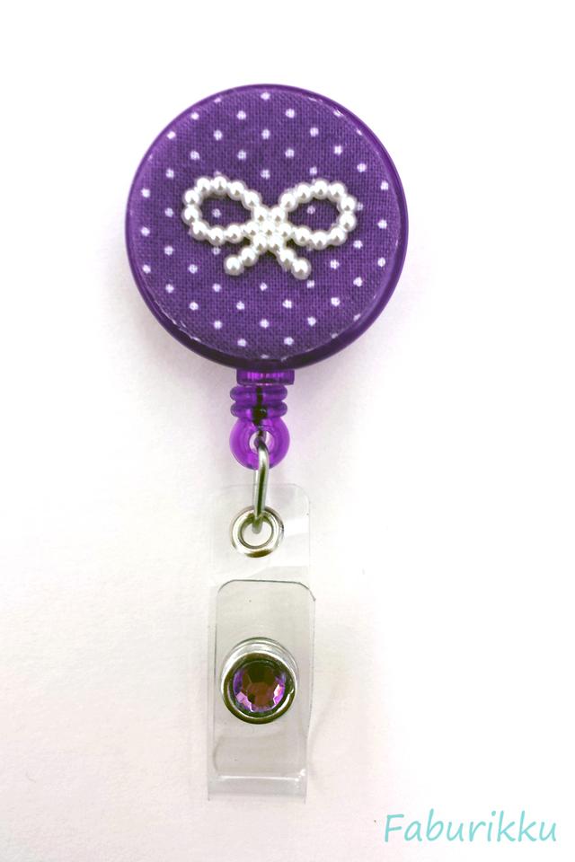 Polkadot Ribbon DarkPurple Clip-On Badge Reel