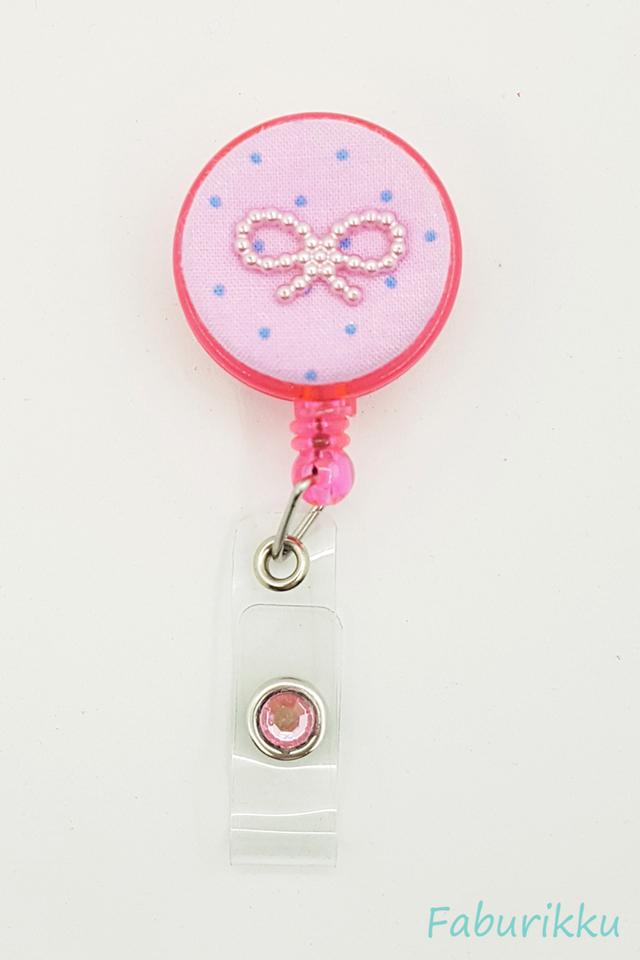 Polkadot Ribbon DollyPink Clip-On Badge Reel