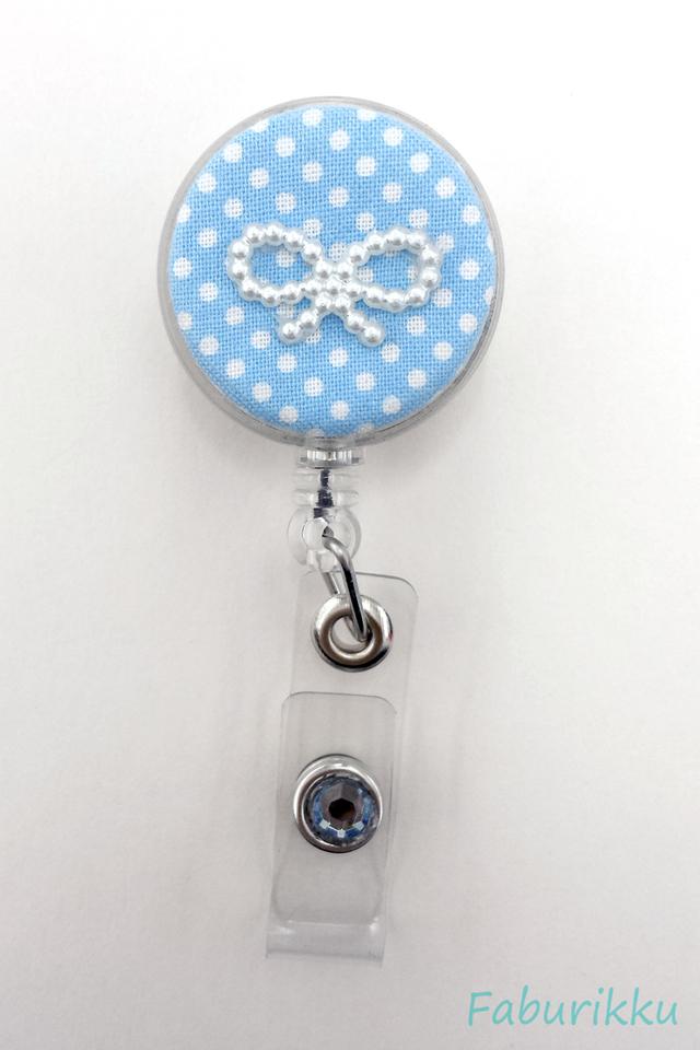 Polkadot Ribbon LightBlue Clip-On Badge Reel