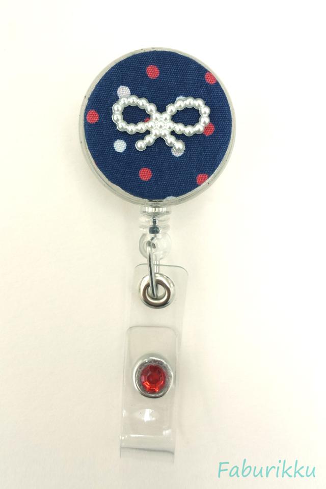 Polkadot Ribbon Nautical Clip-On Badge Reel