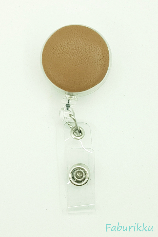PU Leather Camel Clip-On Badge Reel