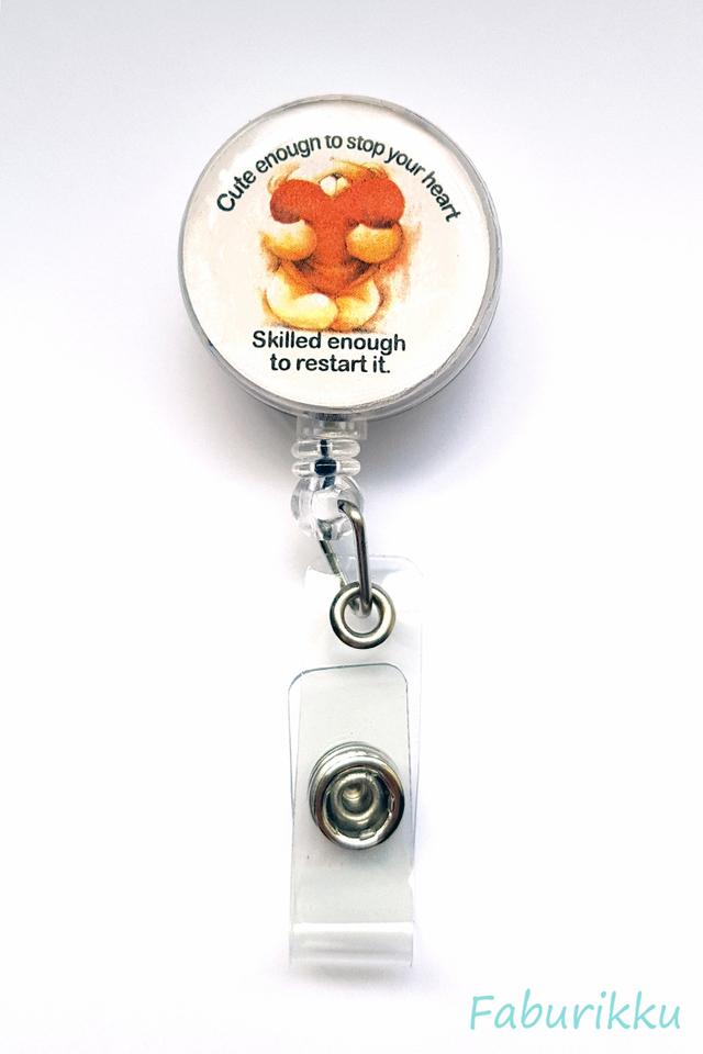 Quotes Nurse Bear Clip-On Badge Reel
