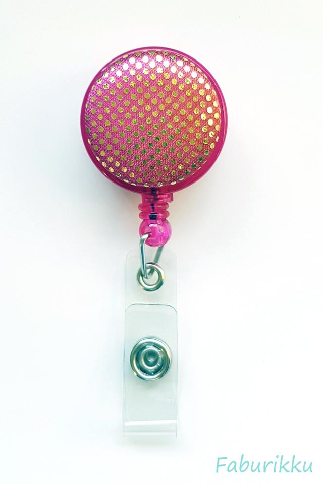 Shiny Dots Magenta Clip-On Badge Reel