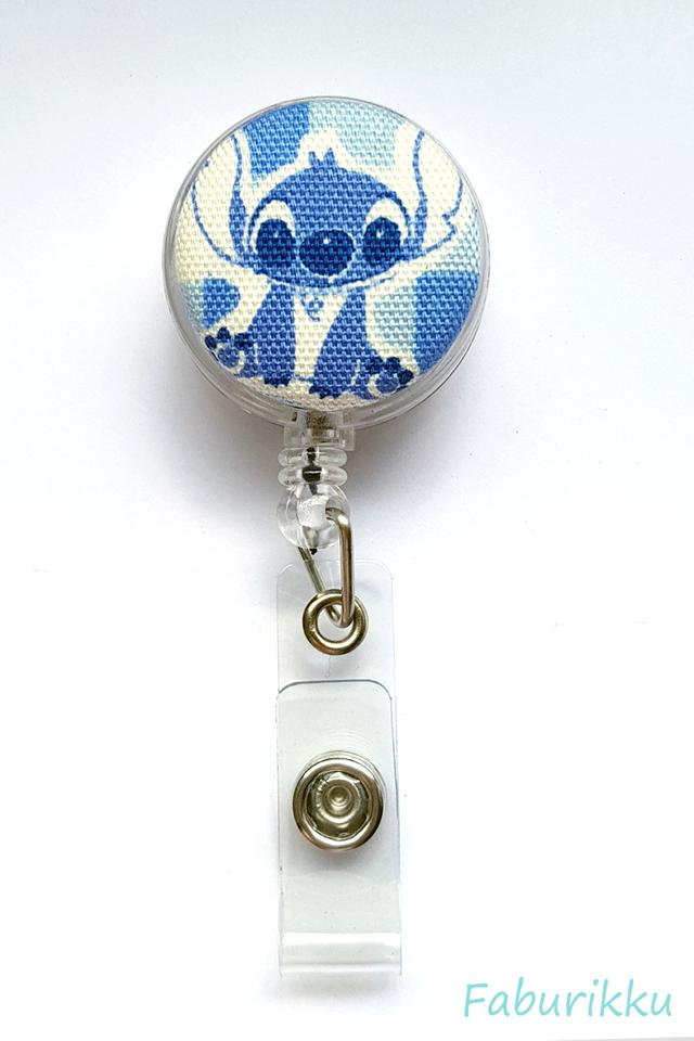 Stitch Blue Checks Clip-On Badge Reel