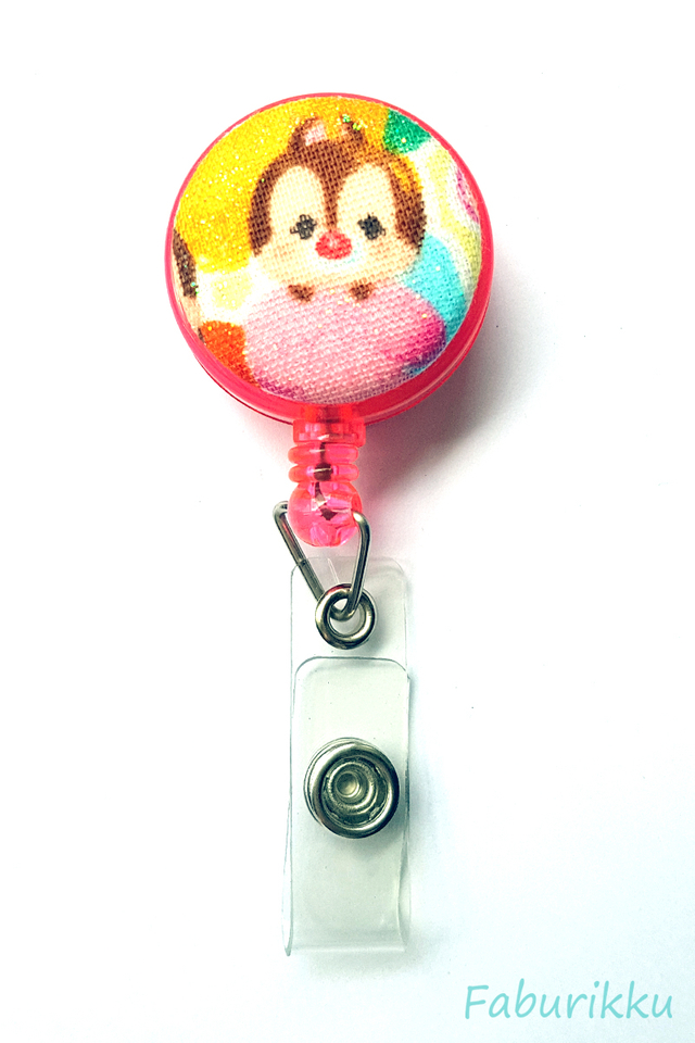 TsumTsum Pink Dale Clip-On Badge Reel
