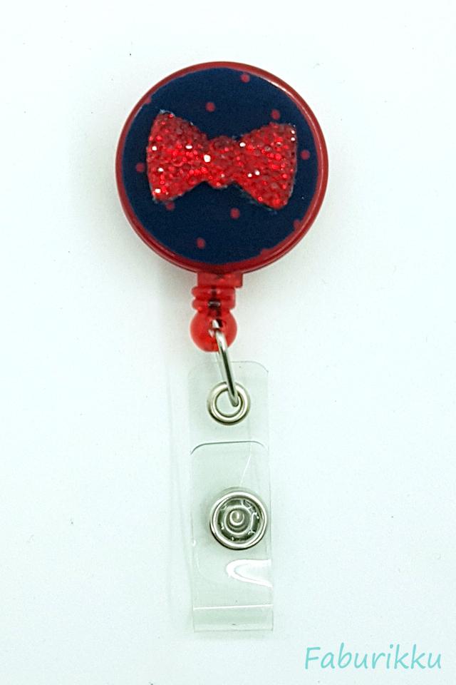 Bling Ribbon NavyRed Clip-On Badge Reel