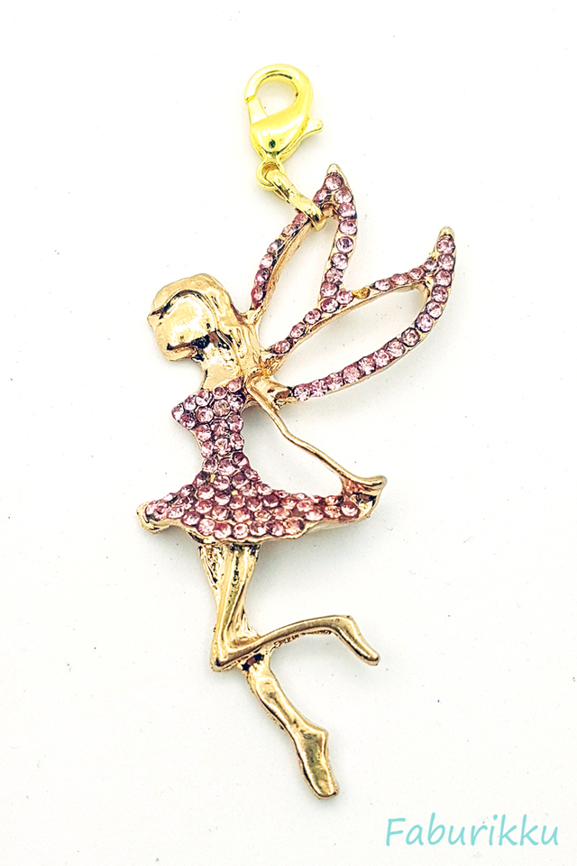Gold Fairy Pink Charm