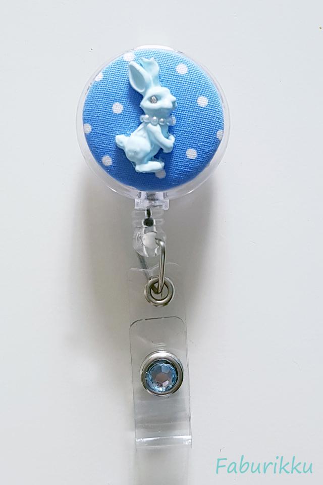 Bunny Polkadot Blue Clip-On Badge Reel