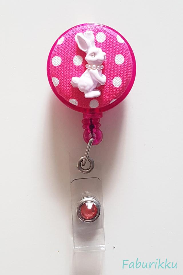 Bunny Polkadot DkPink Clip-On Badge Reel