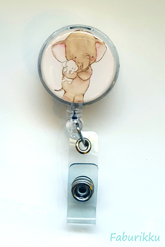 Animal Elephant Clip-On Badge Reel