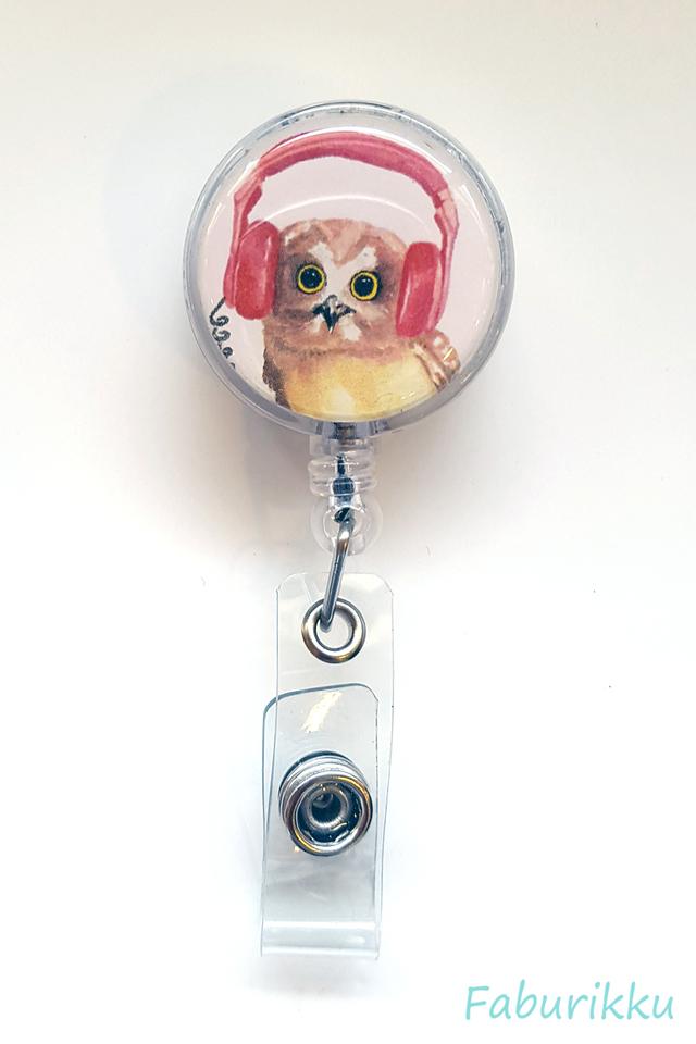 Animal OwlHeadphone Clip-On Badge Reel
