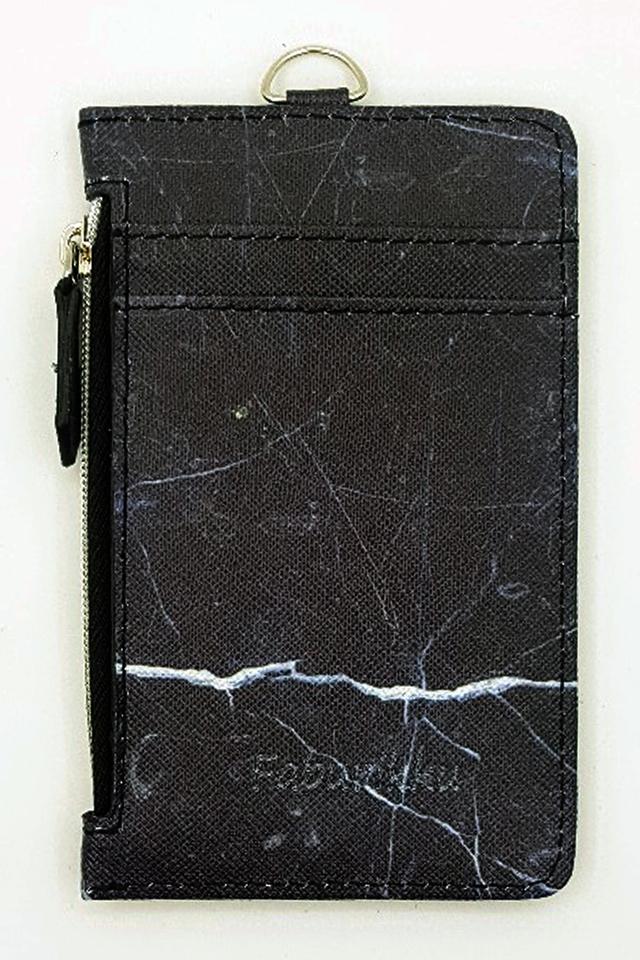 Black Marble Zip Premium Cardholder Portrait