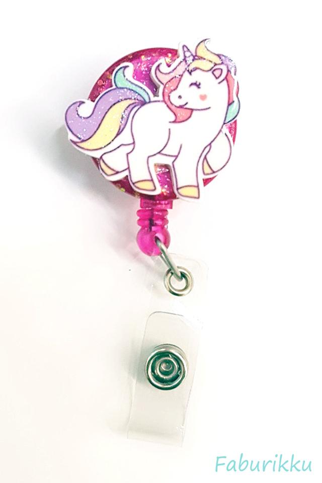 3D Unicorn Full Magenta Clip-On Badge Reel