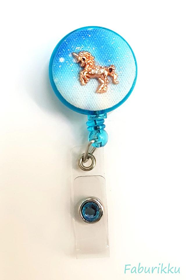 Galaxy Unicorn Turquoise Clip-On Badge Reel