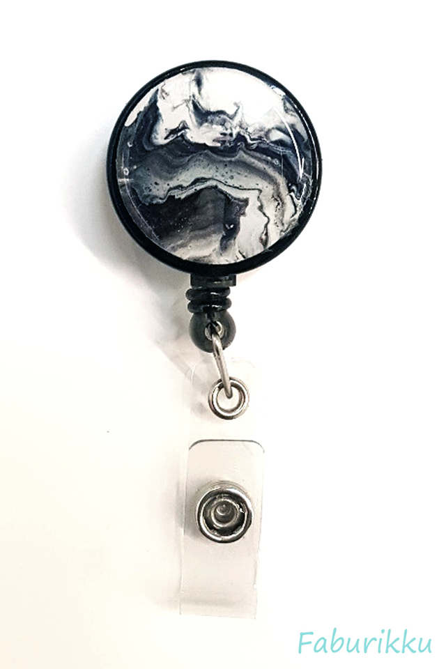 Watercolour Print Black Clip-On Badge Reel