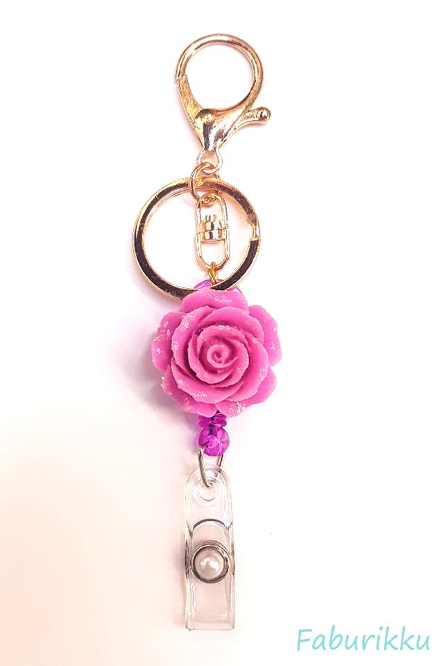 3D Rose Purple Hook-On Badge Reel